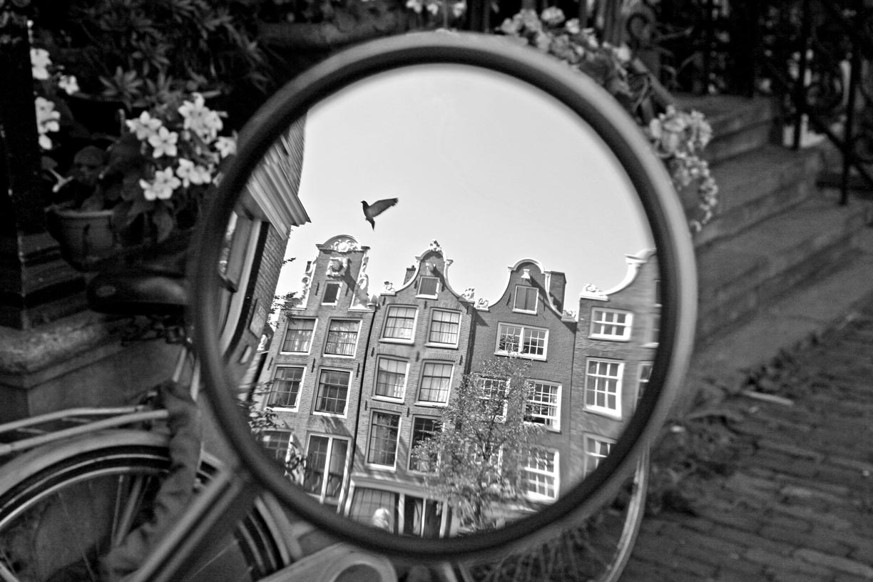 A bird is reflected in a bicycle mirror in Amsterdam, Holland.