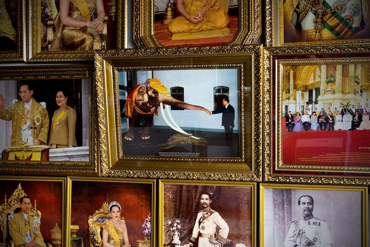 A picture featuring the King of Thailand greeting the royal white elephant hangs in a shop in Surin. The white elephant is considered to be the most important of its kind. To aquire one during a King's reign is believed to bring prosperity and happiness throughout the kingdom.
