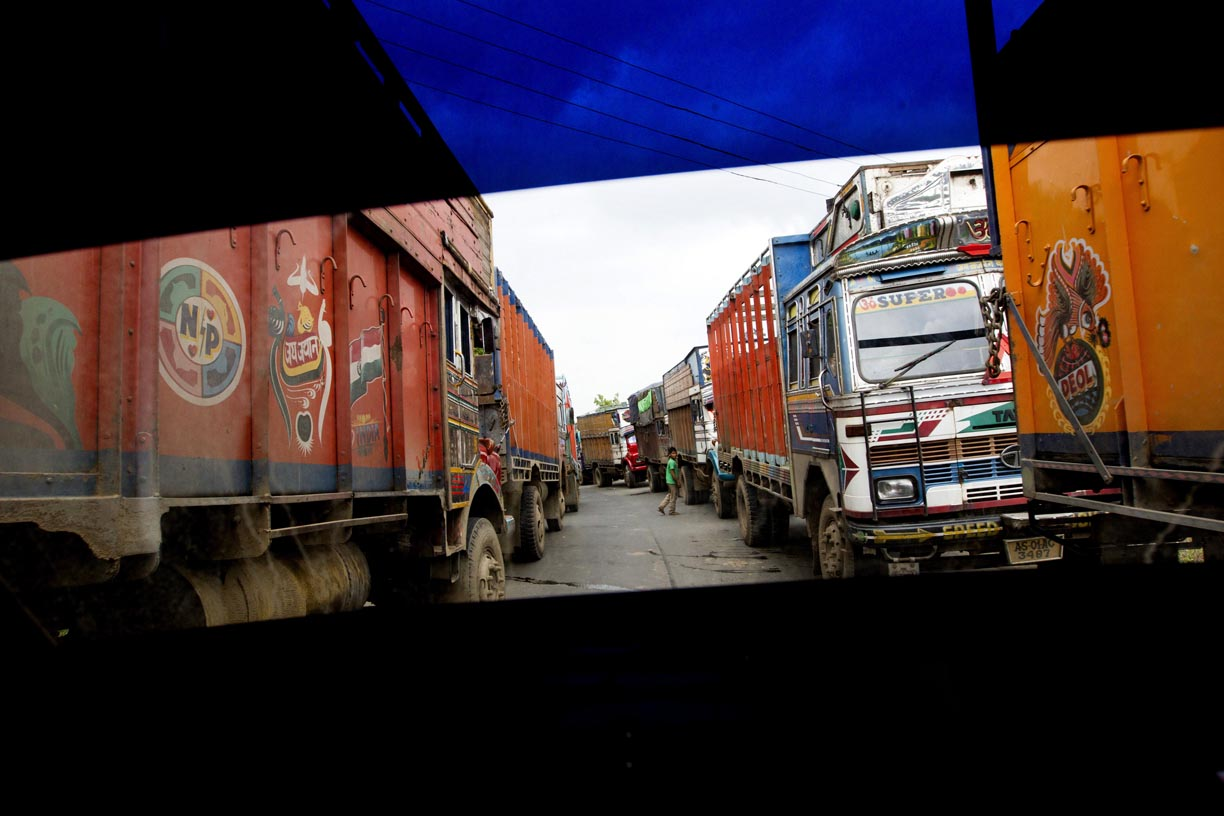 Coal trucks wait in line near the Bangladeshi border in the Jaintia Hills.