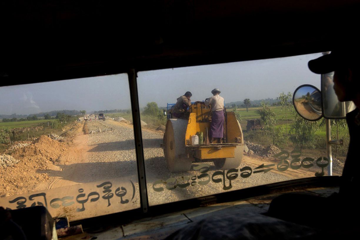 Road construction outside of Yangon.