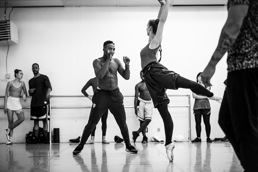 BJay Johnson, a boxer with Element Gym (L) and Nicole Brown (R), Company (professional) dancer at St. Paul Ballet, rehearse in studio for an upcoming performance on June 18, 2017 in St. Paul, Minnesota.
