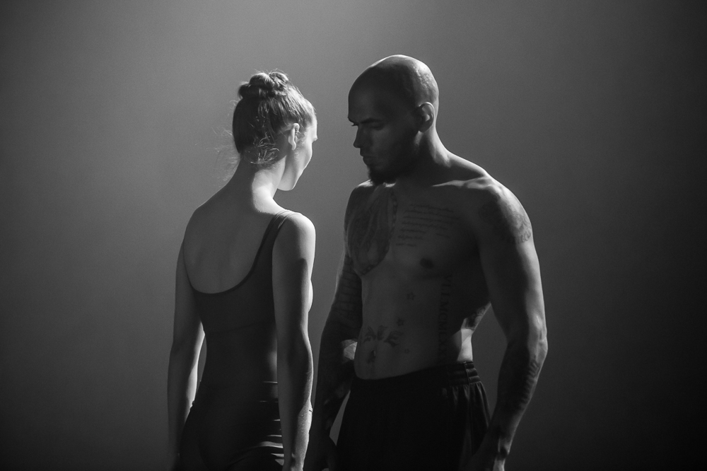 St. Paul Ballet Company dancer Nicole Brown & Element Gym boxer and owner, Dalton Outlaw, rehearse in the Knight Challenge Event, {quote}The Art of Boxing. The Sport of Ballet,{quote} on October 13, 2017 in St. Paul, MN.