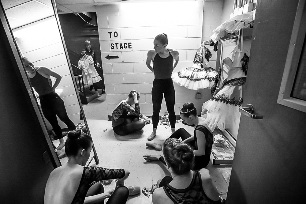 St. Paul Ballet Artistic Director and dancer, Zoe Henrot, backstage during a costume change on April 24, 2016, in Menomonie, WI.