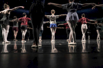 St. Paul Ballet dancers take ballet class on stage before the show on December 2, 2016 in St. Paul, Minnesota.