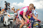 2004 STAGE 13 / Plateau de Beille, France: German rider  Jan Ullrich (Team T-Mobile) attempts to catch Lance Armstrong and Ivan Basso on Plateau de Beille on July 17, 2004.