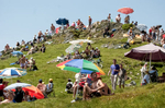2005 STAGE 14 / Agde to Ax-3 Domaines, France: Spectators gather on the mountainside and await the arrival of the race on July 16, 2005.
