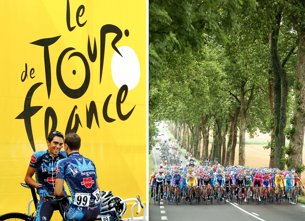 (L) 2005 STAGE 17 / Pau, France: Alberto Contador and Angel Vicioso (Team Liberty Seguros) at the start in Pau, France on July 20, 2005. (R) 2005 STAGE 17 / Luneville to Karlsruhe, France: The peloton travels through a boulevard of trees early in the race to Karlsruhe on July 8, 2005.