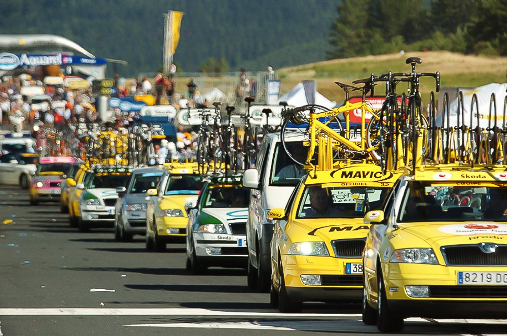 2004 STAGE 16 / ALP D'HUEZ, FRANCE - July 21, 2004: Team cars and support vehicles line the course after the race.