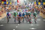 STAGE 12 / CARCASSONE - July 14, 2006: Riders jockey for position during the final sprint to the finish in Carcassone, France.