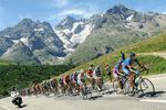 STAGE 16 / LE BOURG-D'OISANS - LA TOUSSUIRE - July 19: The peloton races through the French Alps.
