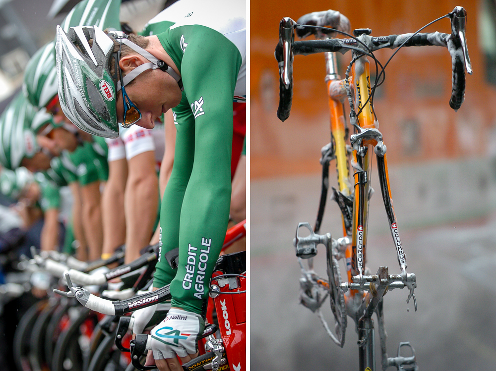 (L) 2004 STAGE 4 / Cambrai, France: Team Crédit Agricole prepares to launch for the team time trial on July 7, 2004. (R) 2004 STAGE 5 / Chartres, France: An Euskatel team bike gets washed after the race on July 8, 2004.