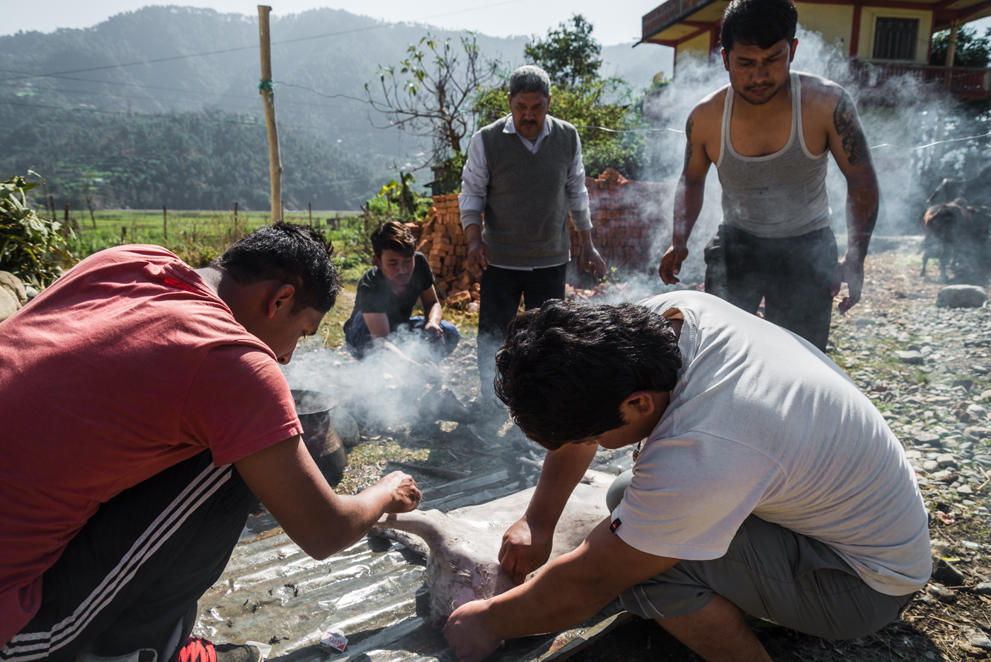 A family processes their goat shortly after slaughter in a rural village in central Nepal.