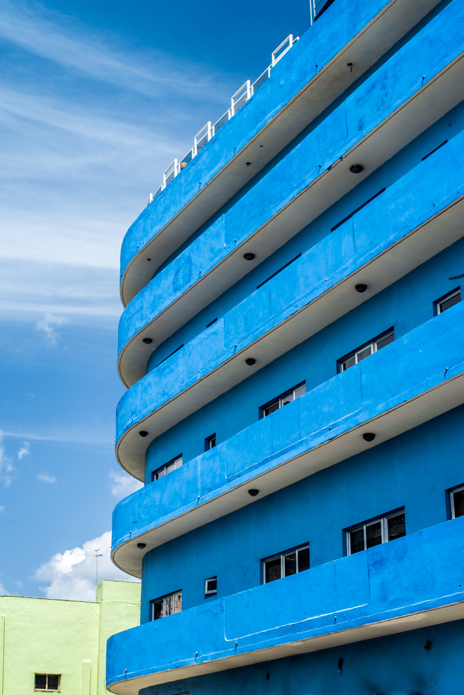 Wavy, hotel architecture on the side of the Malecon.