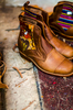 These handmade boots use guatemalan leather and textiles.