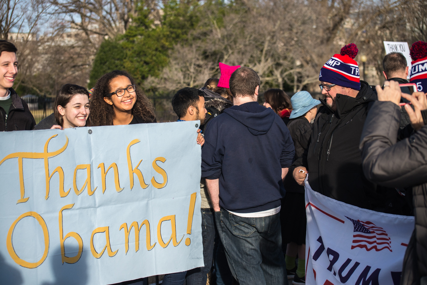 Obama and Trump fans meet in front of the White House.