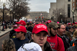 Red Trump hats fill this crowd of supporters as they wait to access the Inauguration ceremony and parade route.