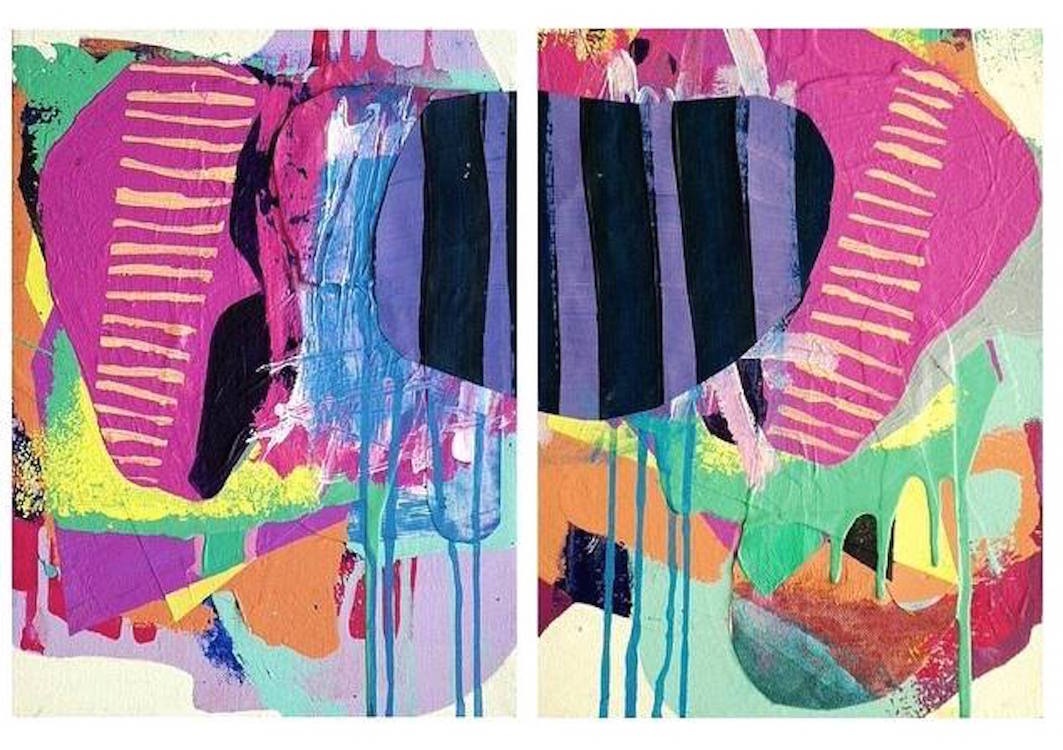Hasty2015. Acrylic & Paper on Canvases (Diptych)Each piece is 12 x 9 in.