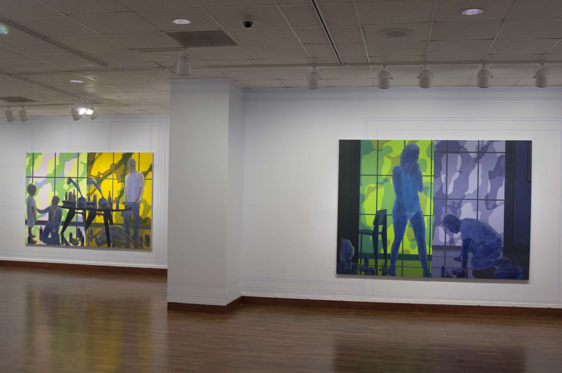 L: 72 x 108 in. R: 72 x 100 in.Acrylic, pumice, ink-jet printing on canvas