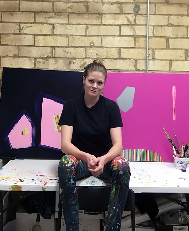 Jennifer Turnage, at her Studio in Memphis, TN, July 2015Contact: JenniferTurnageArt@gmail.comWebsite:  www.JenniferTurnageArt.Simpl.comArtist StatementEach painting begins with a rough compositional construct that evolves through layers and mark making.  Colors and shapes become dependent on each other and dictate the direction of a piece.  As I navigate through each painting, I continue to add and subtract elements while reducing the composition to its final structure.  I view the work as complete when the surface consists of a vibrant, unbalanced harmony between negative and positive space.        BioJennifer Turnage received her Bachelors of Fine Arts degree from Memphis College of Art where she focused on sculpture and contemporary ceramics.  After graduating she switched gears and began to concentrate on painting.  Her work has been displayed in galleries in Tennessee and Wisconsin, including James May Gallery, in Alagoma, Wisconsin and Gallery 56, in Memphis, Tennessee.