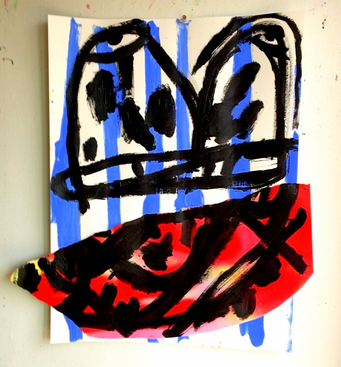 Drawing, painting, collage flashe, acrylic, spray, Arches cold pressed 24 x 16 in.
