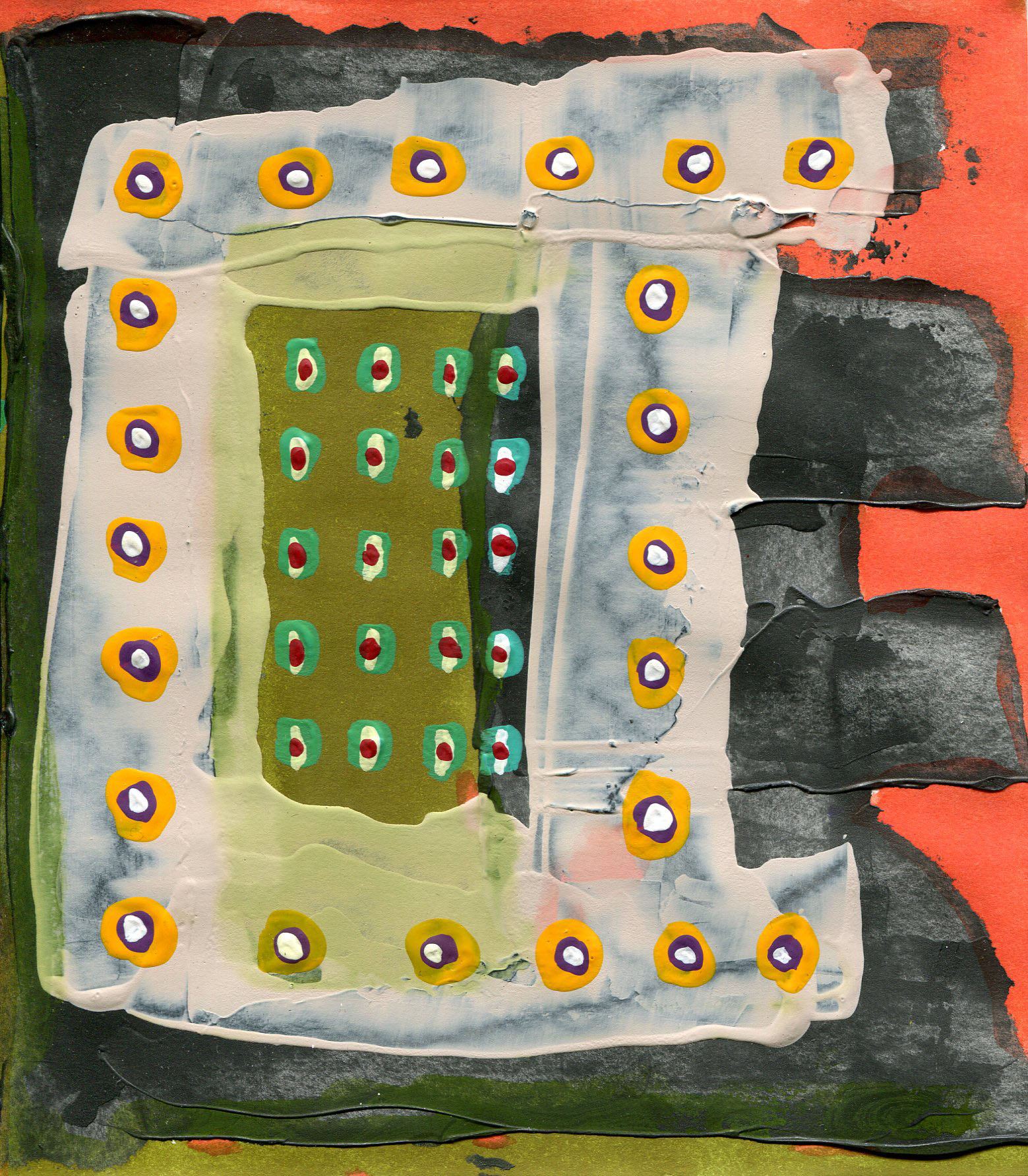 6 in. x 5 1/4 in.acrylic, ink, & flashe on paper