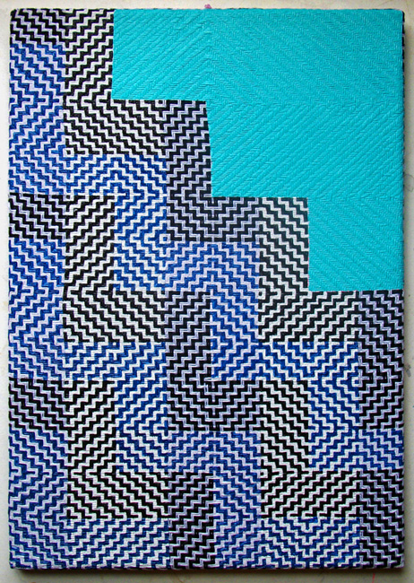 Samantha BittmanHappiness by the Pool in Palm Springs / 2012acrylic on hand-woven textile / 20 x 14{quote}