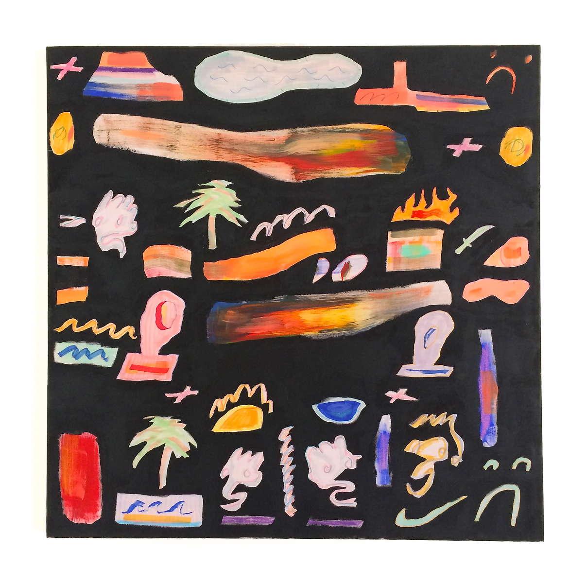 "Elliot FoxCorish Palm Trees (2014)acrylic on cotton23.62"" x 23.62"""