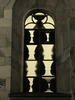 Photograph of a stained glass window by Sigmar Polke at Grossmunster Chapel