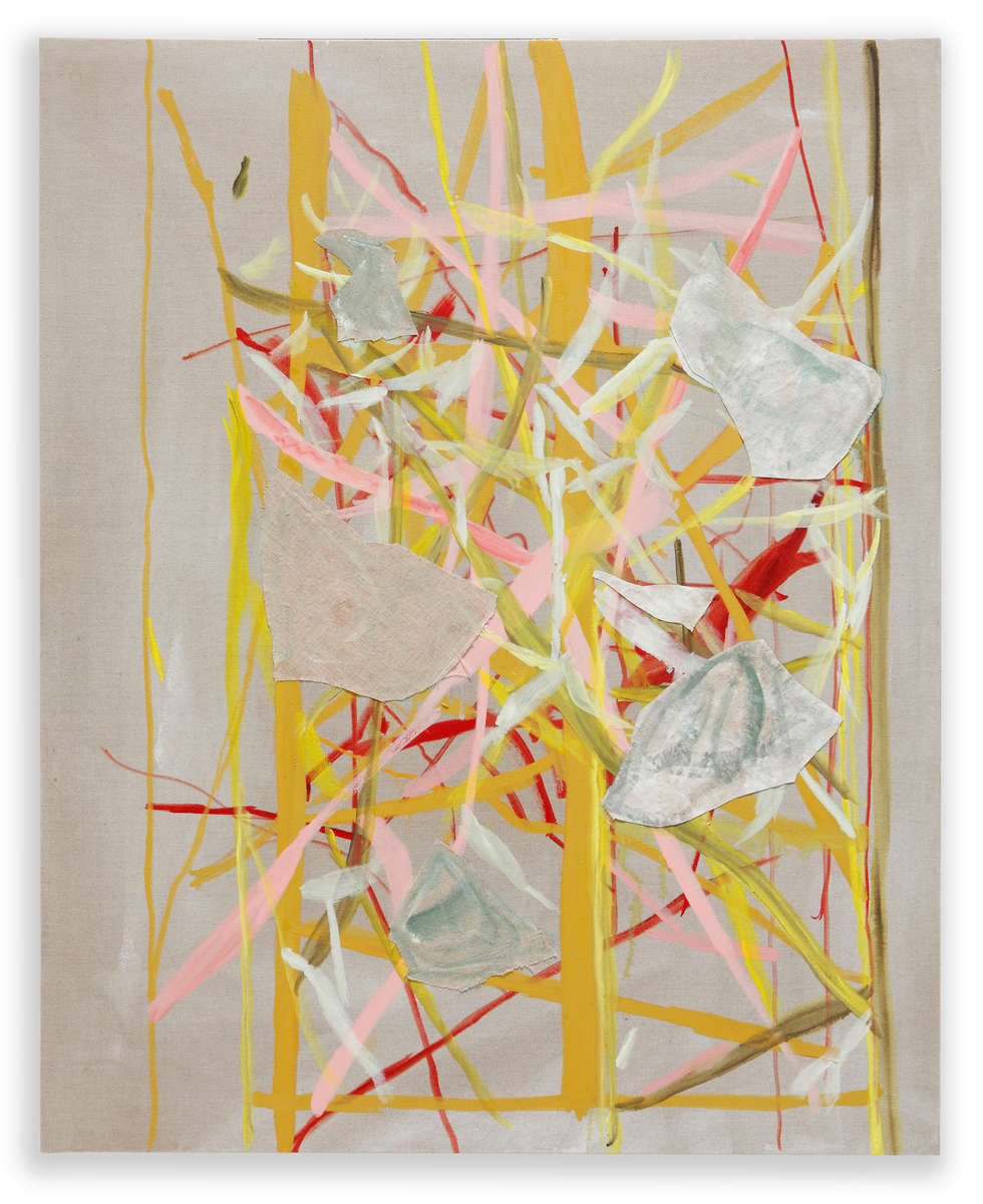 Oil and collage on linen130 x 105 cm.