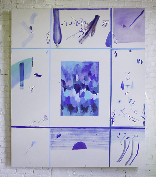 Blue Grid (I)Oil on canvas66 x 78 in.