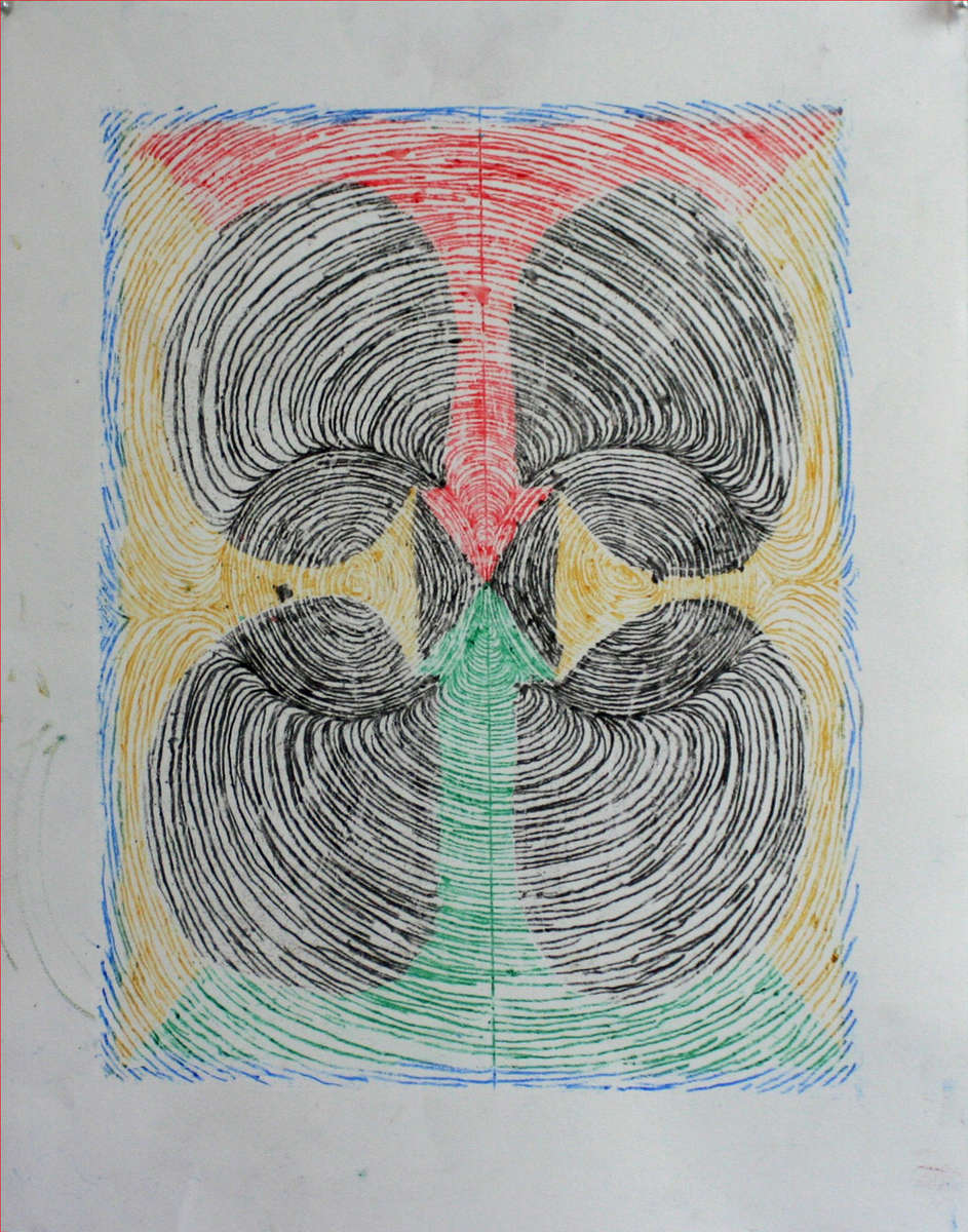 Transfer diagram of becoming as person as confusing as that is (1). 2019.oil pastel, 11x1411 x 14 in.Oil pastel transfer