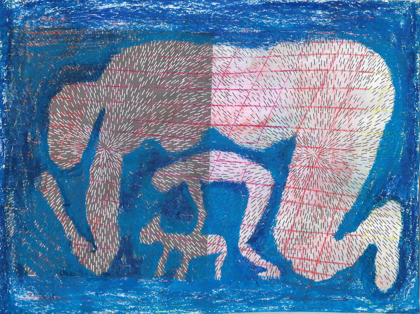 Untitled. 2015-19Inkjet and oil pastel on paper. 8.5 x 11 in.