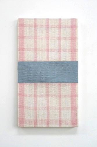 18 x 10 in.casein, thread on cotton dishtowel