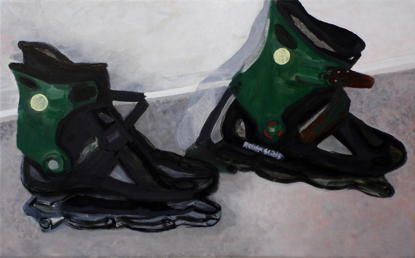 Carey LinRollerblades without wheels (Made in Italy I think) / 2012 oil on canvas / 15 x 22{quote}