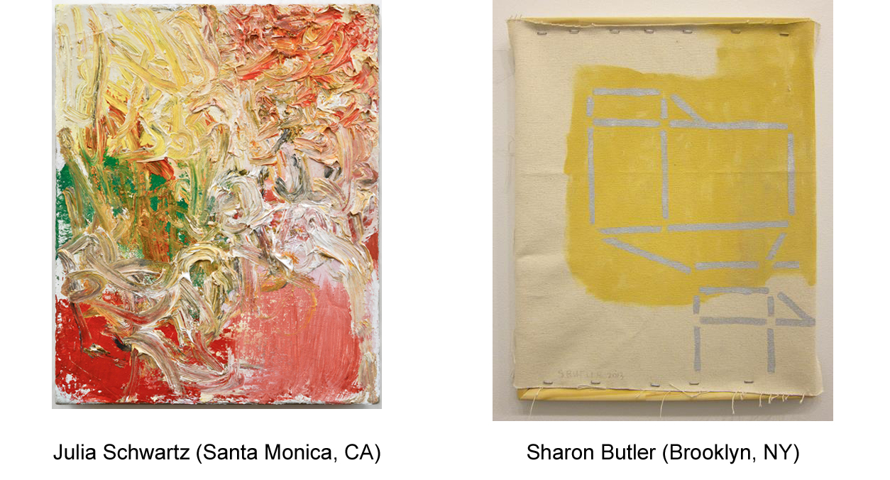 I find Sharon Butler's deconstructed paintings to be energizing and inspiring. The juxtaposition of raw-the rough edges of unraveling canvas- and finished-areas of pure color and straight edges- was a lightening bolt to my messy painting way of being.