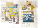 Collage made from 'cooked' (i.e. already printed) elements with extras added; an analog-digital hybrid13 in. x 13 in.