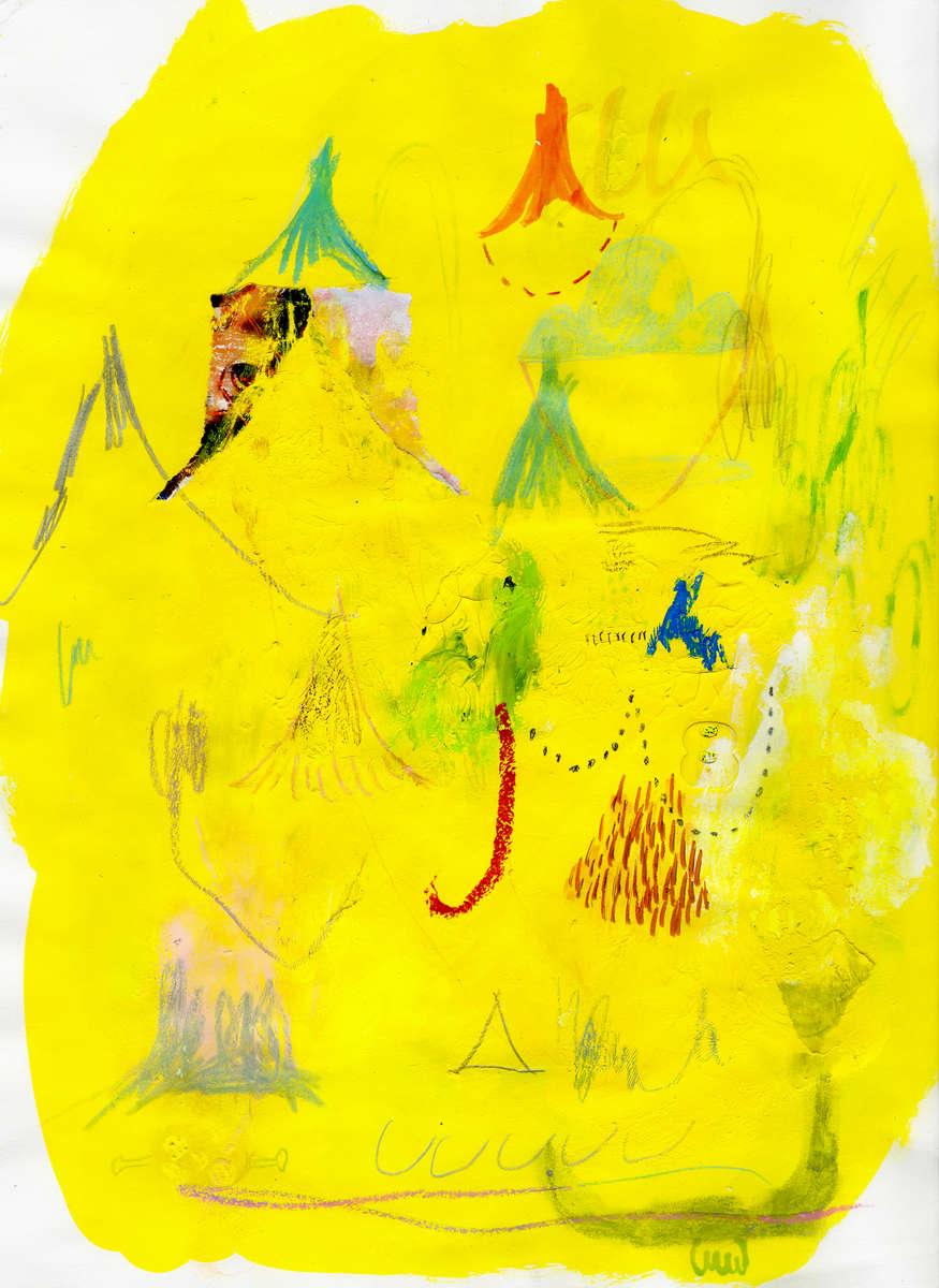 "Aimi SakataUntitled (2013)paper, acrylic gouache, colored pencil, crayon, pen 11.69"" × 8.27"""