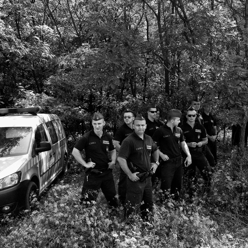 june 16, 2015. a team of hungarian police officers stand to attention in a forest close to the country's border with serbia, morahalom, hungary.