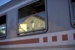A woman sits inside a train that would take her towards Slovenia, Tovarnik, Croatia, Sept. 21, 2015.