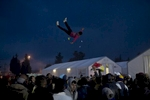 A man is thrown into the air during a celebration at the refugee camp in Idomeni, Greece, March 27, 2016.