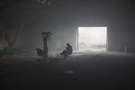 Two men keep warm by a fire inside the abandoned customs warehouse, Belgrade, Serbia, Jan. 5, 2017.