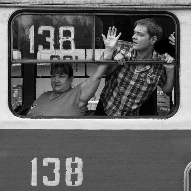 June 18, 2014. Passengers on a tram, Donetsk, Ukraine. Miners strike. We walk a lot. M. films, I take photos with my phone.