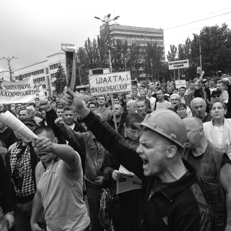 June 18, 2014. Miners at a protest, Donetsk, Ukraine. Finally we reach the Lenin Square. Pretty uneventful.