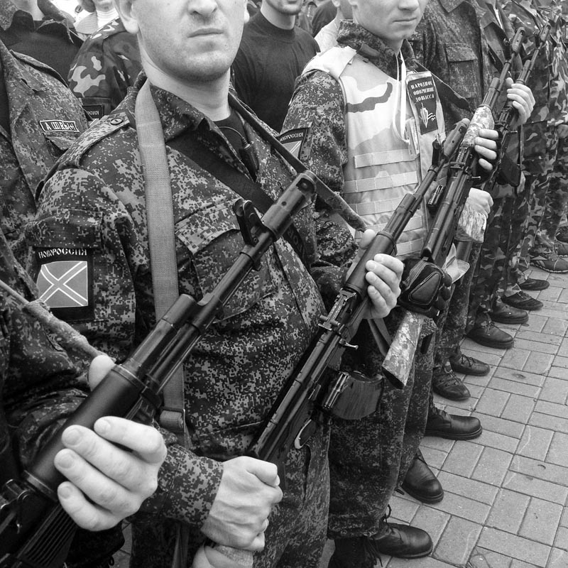 june 21, 2014. members of a pro russian militia stand to attention, donetsk, ukraine. a show of strength at lenin square. i take out the new camera for the first time, then put it back in the bag. i don't want it to get smashed by an idiot. new cameras attract idiots.