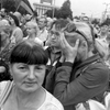 june 21, 2014. a woman weeps, donetsk, ukraine. the uniforms go away. all of a sudden, the square is full of civilians that are sad for no apparent reason.