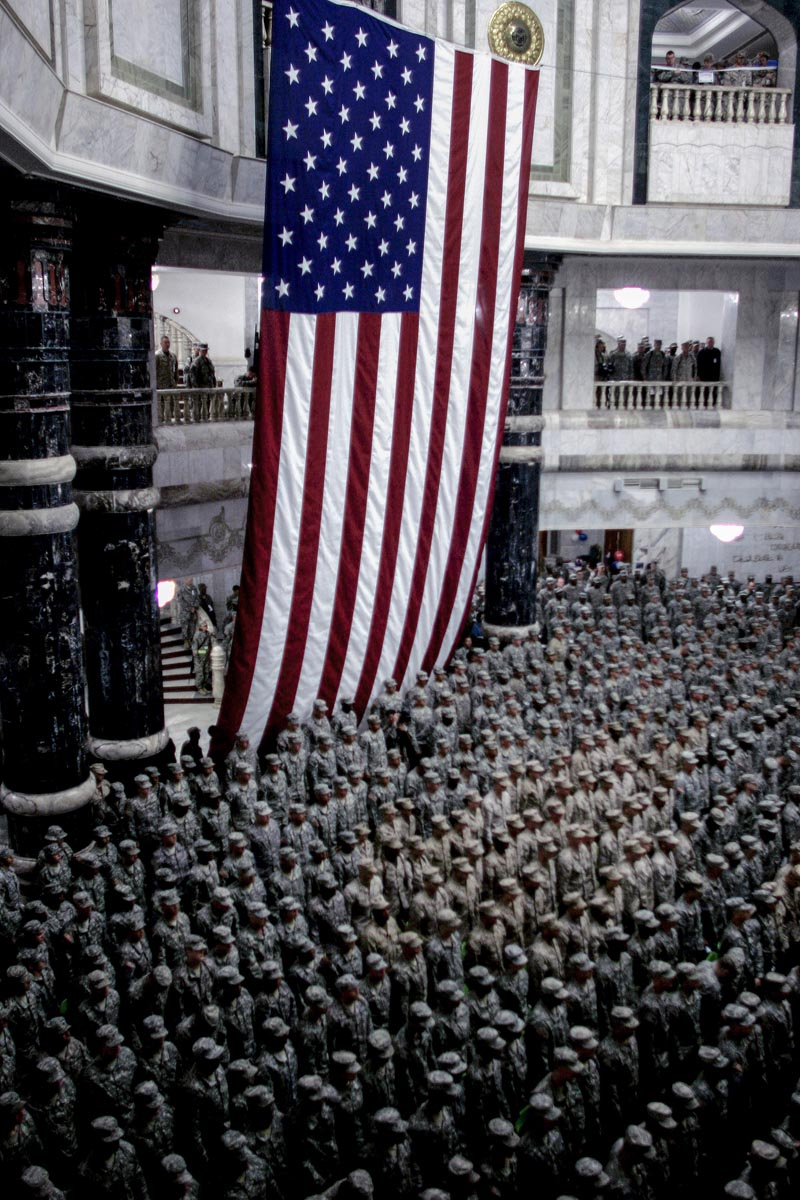 u.s. military service members attend a 4th of july re-enlistment ceremony, baghdad, iraq, 2008.