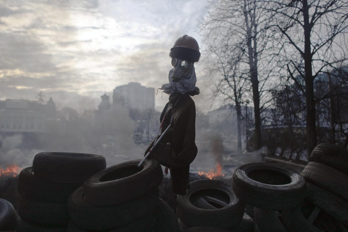 an effigy stands on the barricades, kiev, ukraine, feb.21, 2014.
