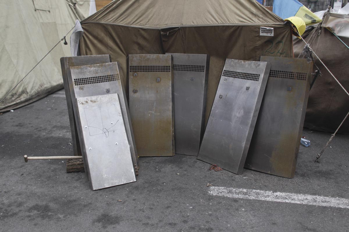 shields used by protesters, kiev, ukraine, feb. 26, 2014.