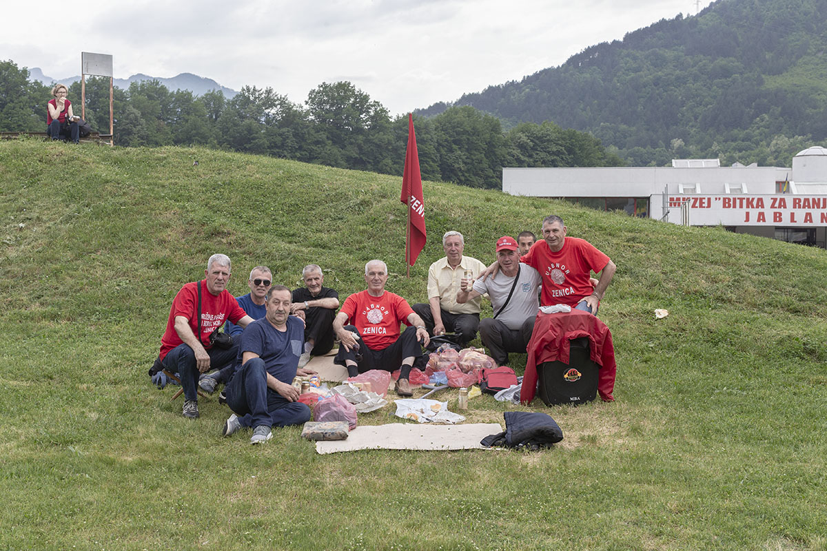 Members of the Association of Anti-Fascists and WWII veterans in Zenica, a pro-Yugoslav group, attend the 75th anniversary of the WWII Battle of Neretva in Jablanica, Bosnia and Herzegovina, May 5, 2018.