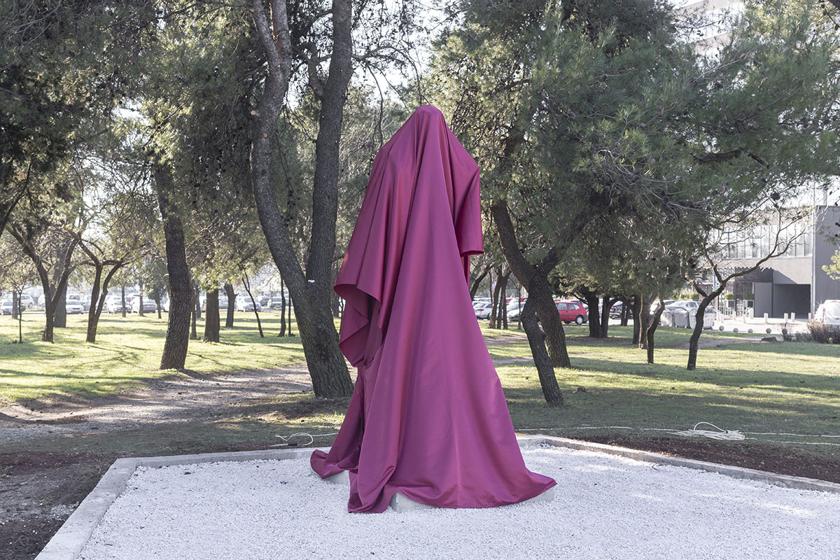 A statue of Josip Broz Tito, former Yugoslav leader, stands covered in cloth before its inauguration, Podgorica, Montenegro, Dec. 19, 2018. Podgorica, the capital of Montenegro, the smallest of the six Yugoslav republics, was between 1946 and 1992, officially known as Titograd, in honor of the Yugoslav leader. In late 2018, the local government erected a 3-meter-tall statue of Tito, in order to commemorate the city's Liberation Day in WWII.